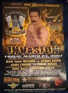 "Dan Severn ""The Beast"" UFC Legend SIGNED 2007 MMA 20x28 Fight Poster COA"