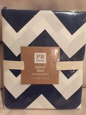 NWT Pottery Barn Teen Chevron KING Duvet Royal NaVy White New