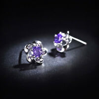 Flower Style Woman Natural Purple Amethyst Gems Silver Woman Stud Hook Earrings
