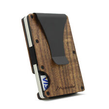 Metal Wallet RFID Wood Credit Card Holder Slim Wooden Case Mini Money Clip Gift