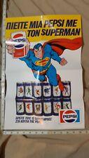 "VINTAGE GREEK POSTER SUPERMAN JLA PEPSI AD 19,5"" X 13 "" FROM 1985"