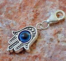 Silver Evil Eye Hamsa Clip on Pendant Charm for Bracelet or Necklace