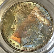 1884-P Morgan Dollar PCGS MS64 EOR End Of Roll Rainbow Toned