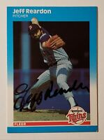 Jeff Reardon Signed 1987 Fleer Card (#U-101) .. Minnesota Twins - Mets AUTOGRAPH