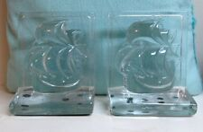 New Martinsville 1938 Clipper Ship Crystal Glass Bookends