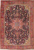 Vintage Geometric Oriental Area Rug Wool Hand-Knotted Medallion Carpet 8x11 BLUE