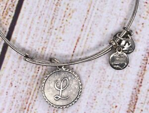Alex and Ani Older Letter L Charm Bangle Silver Bracelet