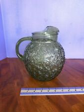 Vintage Anchor Hocking Glass Ball Pitcher Crinkle Avocado Green