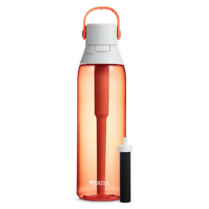 Brita 26 Ounce Premium Filtering Water Bottle with Filter - BPA Free - Coral