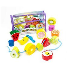 Childrens Wooden Fruit Salad Threading Beads - String Bead Toy for Young Kids