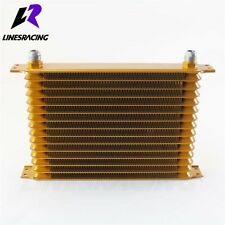 15 Row AN10 Engine Transmission Trust 7/8″ UNF14 Oil Cooler Kit Gold Fits Nissan