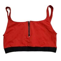 Axor Sports Bra Women's Size Large Red Black Partial Front Zip Unlined Wireless