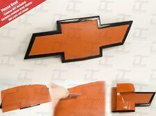 (2) Silverado Tahoe Orange Carbon Fiber Chevy Bowtie Vinyl Sheets Emblem Overlay