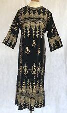 Vtg 70s Caftan Black velvet ABAYA Hippie BOHO Embroidered Caftan Tunic Dress