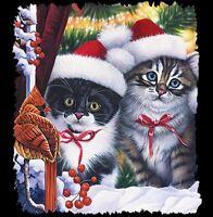 Cat -  Christmas Shirt - Kitty Cats Peeking - Snow - Holly - Cardinal - Sm - 5X