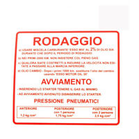 Label Running-In Red Vespa Rally 180-200 142721040 RMS Frieze Piaggio