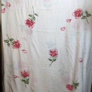 "Vintage Pink Roses Blanket Soft Pink Satin Binding 78"" x 84"" Full Size"