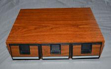 Vintage Cassette Tape Case Storage Holder - Wood Grain - 3 Drawer - 42 Tapes