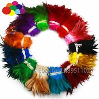 13 color Rooster Feathers 5-6 Inch Strip Natural Strung Rooster Feathers Craft