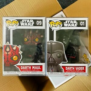"Funko Pop Star Wars : Darth Maul #09 + Darth Vader #01 Set of 2 Vinyl ""MINT"""