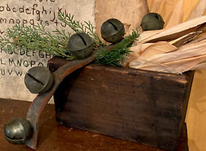 5 Early Sleigh Bells on Leather Strap Country Primitive Christmas Antique