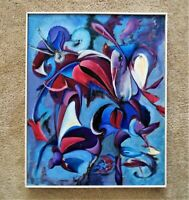 Vintage Still Life Oil Painting Floral Flowers Modern Abstract Expressionis