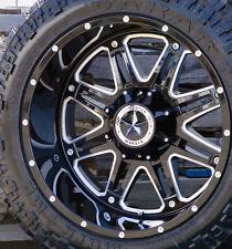 "22"" Black Lonestar Outlaw Wheels 35"" Tires 8x6.5  22 Inch Rims (Fits Ram 2500)"