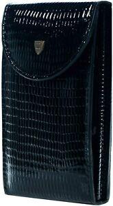 Zinger Manicure Set of 9 tools in Real Leather - Black Snake skin imitation