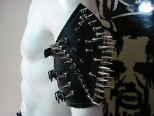 LEATHER SPIKED ARMBAND. BLACK METAL ....(MDLA0071)..... BELENOS