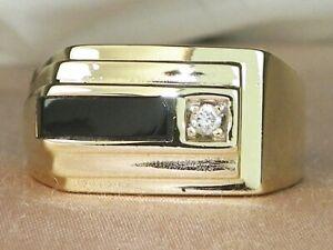 Helzberg Men's 10k Yellow Gold Onyx & Diamond Band Fine Ring-Size 11.75