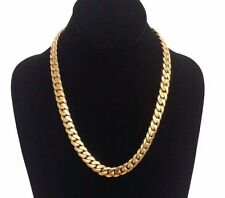 "20"" 14k Gold Plated Sterling Silver Miami Cuban Link Chain, 11 mm 140 grams"