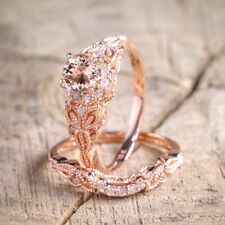 Antique 18K Rose Gold Morganite Gemstone Ring Set Wedding Women Jewelry 6-10 Hot