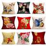 Retro Peony Flowers Sofa Bed Home Decor Festival Pillow Case Cushion Cover Throw