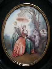 RARE Belle GRANDE MINIATURE PEINTURE XIXe signée ANDRE scène femme ombrelle
