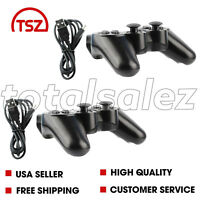 2 For Sony Playstation 3 PS3 Black Wireless Bluetooth Video Game Controller Cord