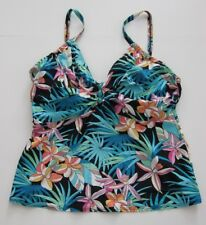 Coco Reef Blue Black Pink Underwire Tankini Swimsuit Top Women's Size 40D