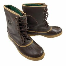 Sorel Kaufman VTG Leather Lined Brown Duck Boots US 12 Steel Shank Canada EUC
