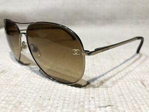 Chanel Aviator Sunglasses 4189-T-Q 395/4N 59[]14 135 2N Pale Gold CC Logo
