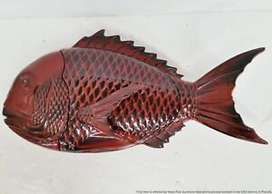 Large Vintage Japanese Asian Covered Lacquer Fish Server Serving Dish w Lid