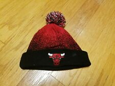 Vintage Chicago Bulls Mitchell & Ness winter beanie pom hat red black D259