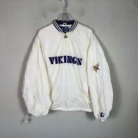 Vintage Vikings Starter Jacket 1/2 Zip Men's XL White Pull Over Windbreaker