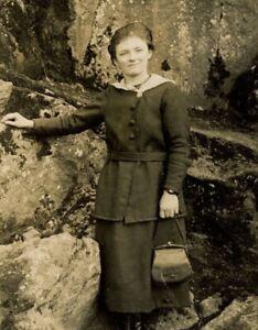 Antique RPPC postcard portrait lady by rocks hand bag leather boots fashion #7