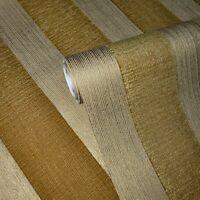 Striped Flocked Wallpaper yellow Gold metallic Textured Flocking Velvet Stripes