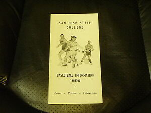 1962 1963 SAN JOSE STATE COLLEGE BASKETBALL MEDIA GUIDE EX-MINT
