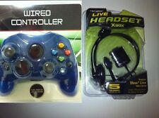 NEW Blue Controller Control Pad & Headset Headphones for Original X BOX System