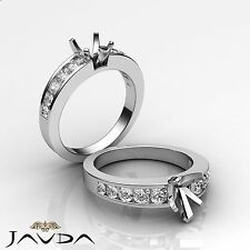 Diamond Engagement Heart Semi Mount Ring Channel Setting 14k White Gold 0.7Ct