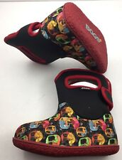 Bogs Baby Bootie Shoes Kiddy Cars Black Multi 52970 Toddler Size 8 & 9 New