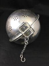 "Vintage Tea Ball Spice Stock Strainer Large 5.5"" Diameter Aluminum with Hook"