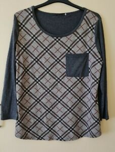 LADIES GREY AND RED LONG CASUAL TUNIC TOP  SIZE 20