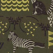 By 1/2 Yard Kokka Echino Canvas Fabric ~ Habitat in Green ~ Zebra Lemur Owl Deer